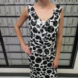 ETCETERA Silk Black&White Polka Dots Skirt&Blouse